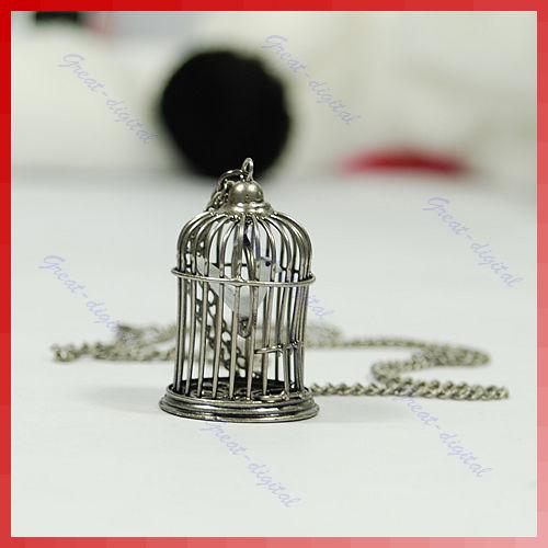 Antique tone birdcage bird cage necklace pendant silver