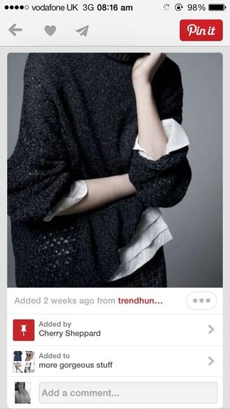 sweater black oversized jumper cotton large