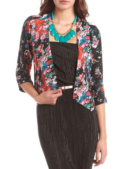 Slash back floral woven blazer: charlotte russe