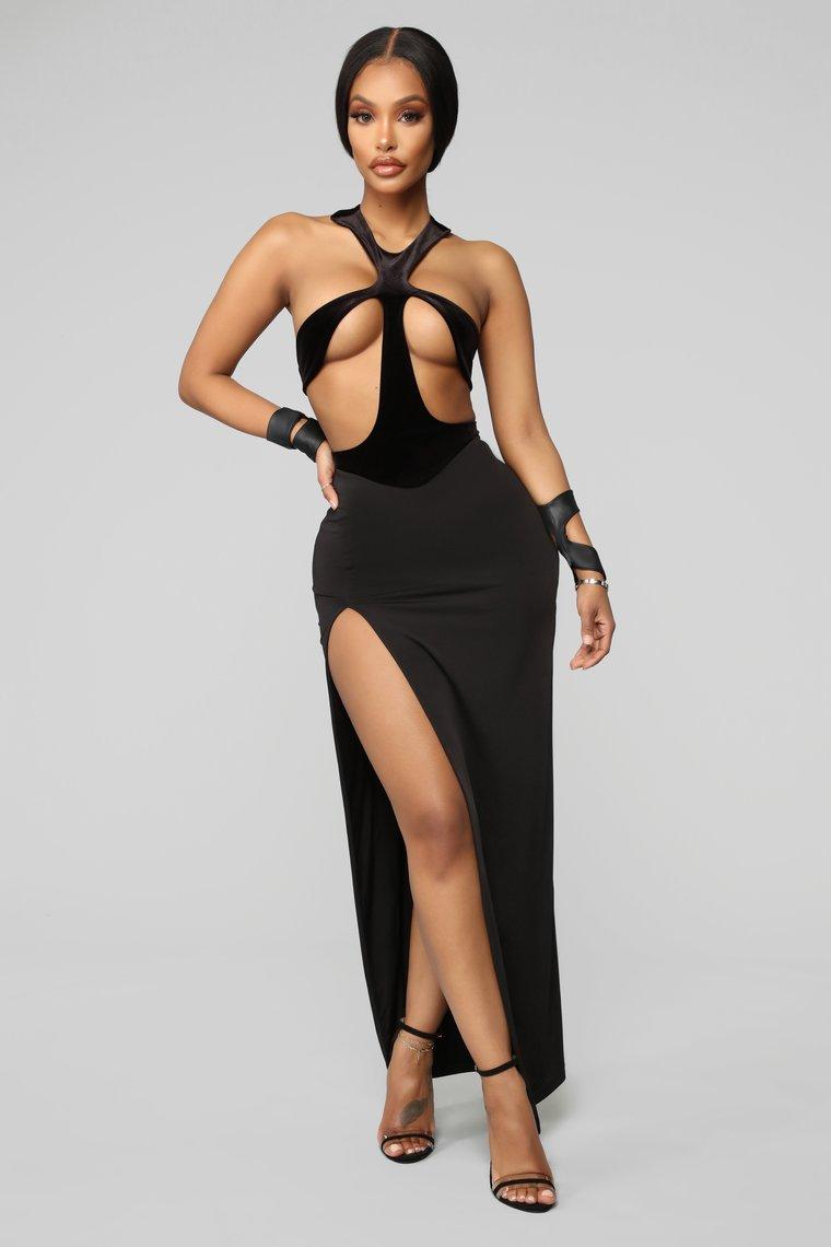 Winning Beauty Cut Out Gown - Black