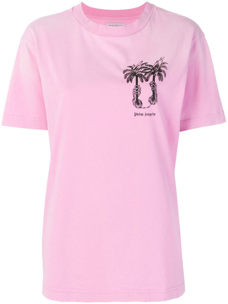 t-shirt shirt t-shirt women tree palm tree cotton purple pink top