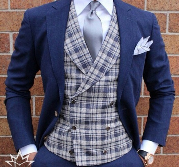 jacket blue plaid necktie button up