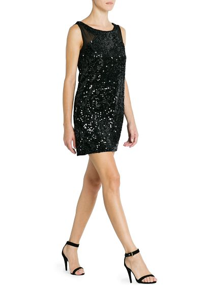 MANGO - #header.secciones.prendas - Dresses - Contrast panel sequin dress
