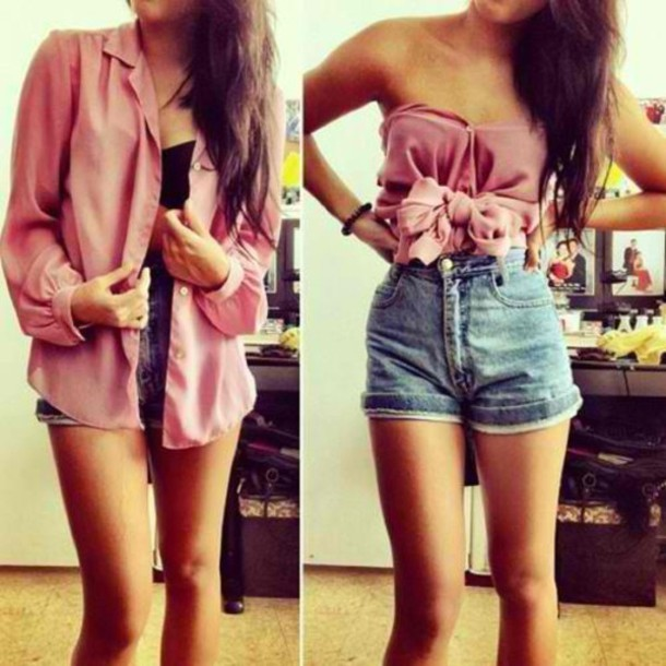 Shirt: pink, skirt, high waisted shorts, shorts, blouse, leggings ...