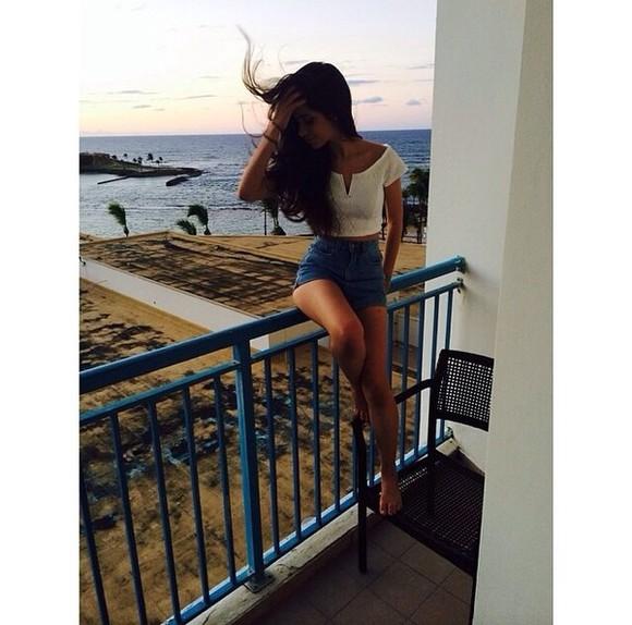 shorts shirt short sleeved white crop tops summer outfits denim blue shorts blue white crop top long hair beach camila cabello
