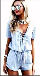 jumpsuit,blue,sky blue,light blue,cotton,cotton jumpsuit,coton dress,lace up,lace up jumpsuit,blue romper,blue jumpsuit,short sleeve,short sleeve playsuit,sexy,cute,casual,casual romper,casual jumpsuit,streetstyle,streetwear,urban,style,lookbook,hot,cute dress,cool,summer,beach,casual suit,women casual,preppy,preppy summer,preppy holidays,holiday jumpsuit,holiday romper,shorts,cotton shorts,casual shorts,vintage,vintage romper,loose,comfy,fashion,fashion toast,fashion vibe,fashion is a playground,fashion inspo,fashion coolture,a fashionista,fashionista,preppy fashionist,pretty,girly,girly wishlist,american apparel,asos,musthave,deep v,plunge v neck,plunge neckline,moraki,style scrapbook,stylish