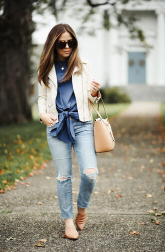 dress corilynn blogger top jeans jacket bag shoes jewels sunglasses