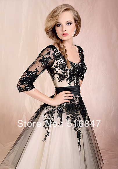 prom dresses 2014 evening dress formal dresses party dress homecoming dresses elegant black lace 1/2 long sleeves a-line dresses ball gown wedding dress empire waist dress