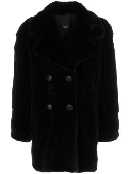 coat fur women black silk