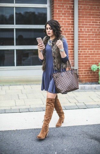 life & messy hair blogger jacket dress jewels tote bag over the knee boots blue dress fall outfits grey fur vest fall dress bag brown boots boots high heels boots mini dress