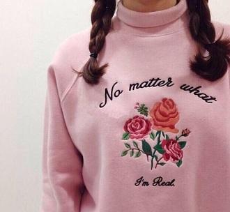sweater turtleneck turtleneck sweater roses turtleneck shirt cute sweaters fashion pinksweater sweaters romantic pink pastel pink