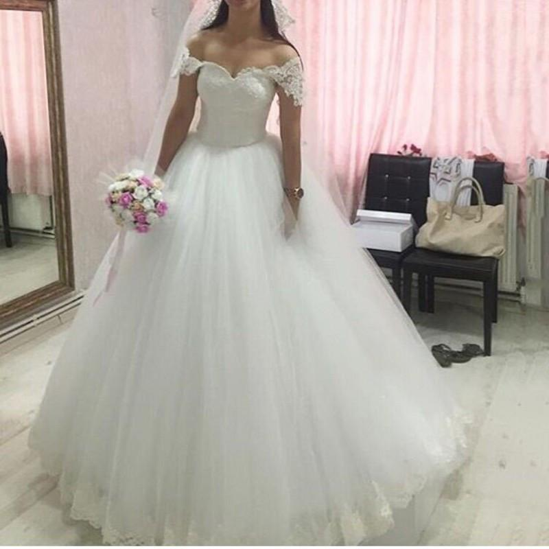 2e2118ca5a07 2016 Princess Ball Gown Wedding Dresses Off Shoulder Vintage Lace Puffy  Organza Skirt Plus Size Beaded ...