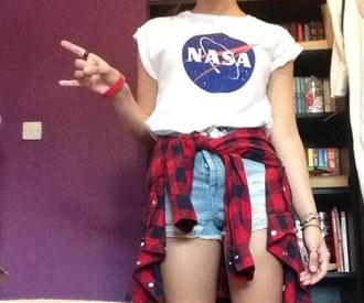 t-shirt flannel nasa tee denim shorts white red jacket
