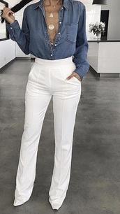 pants,bootcut,white pant,white,wide-leg pants