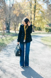 life & messy hair,blogger,jeans,sweater,top,coat,bag,handbag,straight jeans,yellow sweater,fall outfits,givenchy,givenchy bag