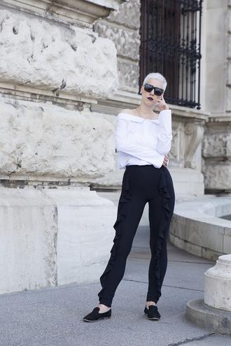 shirt black pants tumblr white shirt off the shoulder off the shoulder top pants ruffle black loafers loafers sunglasses shoes