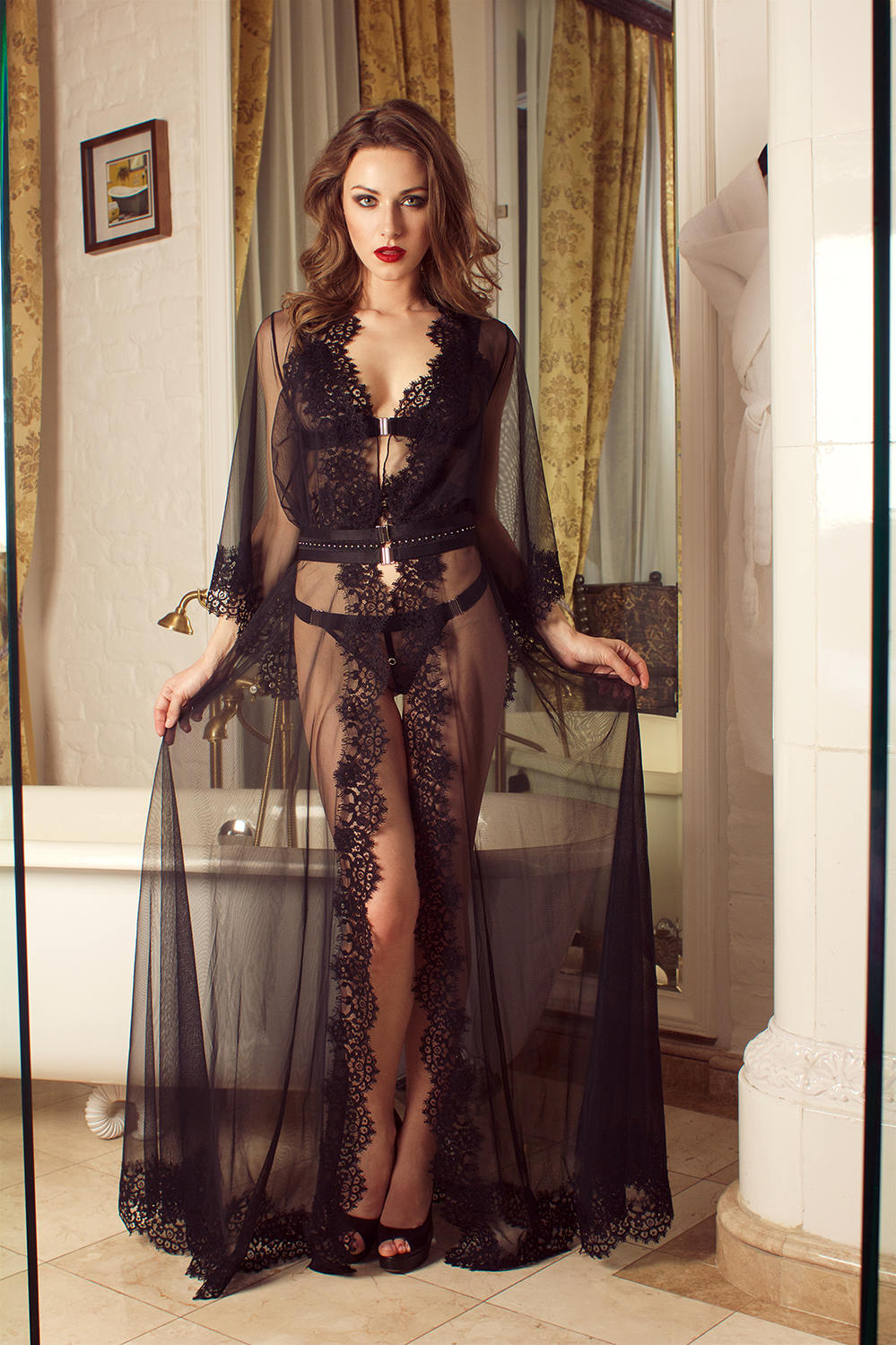 popular style select for latest cute Milady 11047 Maxi Lace Robe, Sheer Nightwear, Erotic Nightwear, Erotic  Lingerie, Sheer Lace Lingerie, Black Sleepwear   by VIPA