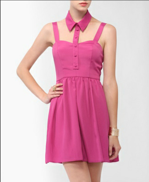 dress pink cut-out collar