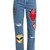 Heart-appliqué distressed boyfriend jeans