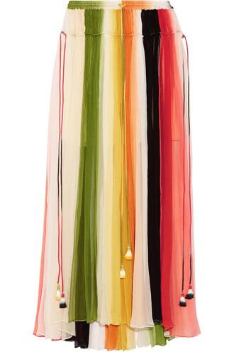 skirt maxi skirt maxi silk green orange
