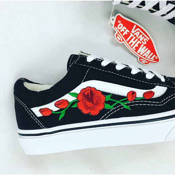 Rose Vans Old skool, rose vans women, womens sneakers, rose embroidered vans, custom vans, canvas vans, unisex vans, rose on vans,