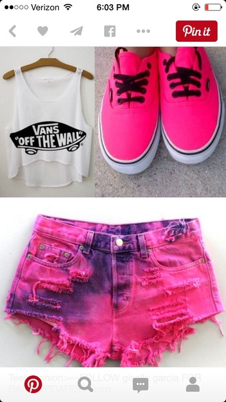 shoes pink hot pink vans summer sexy cute shorts shirt