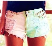 shorts,half,pink,green,pinkandgreen,halfpink,halfgreen,studs,rips,pastel short,studded shorts,summer,colorful,ripped shorts,pastel,pastel shorts,dyed shorts,cute,light pink,sky blue,dip dye shorts,black crop top,studded denim shorts,pants,pink and blue,tumblr,tie dye