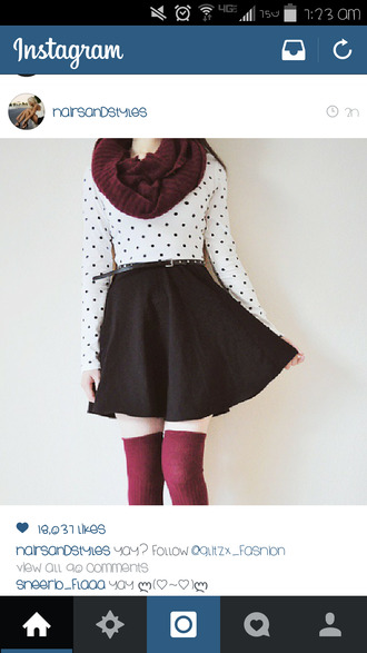 scarf belt socks polka dots