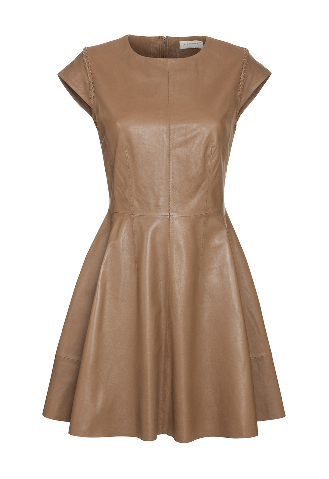 urbancode fit and flare leather dress in brown