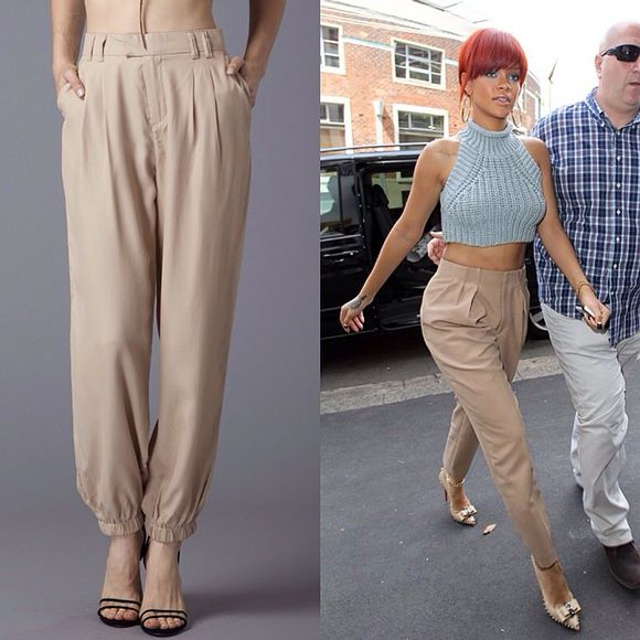 trousers pants fashion black rihanna khaki cuffed slacks harem pant elegant rihanna pants rih