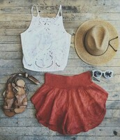 shorts,red shorts,cumfy,boho shorts,white t-shirt,top,skirt,tank top,clothes,shirt,coral,elastic,short,blouse,white,lace,coachella,summer outfits,summer shorts,crop tops,hat,shoes,sunglasses,white halter top,lace crop top,white lace crop top,orange shorts,flowy shorts,mini shorts,fedora,beige hat,lace top,white top