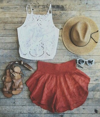 shorts red shorts cumfy boho shorts white t-shirt top skirt tank top clothes shirt coral elastic short blouse white lace coachella summer outfits summer shorts crop tops hat shoes sunglasses white halter top lace crop top white lace crop top orange shorts flowy shorts mini shorts fedora beige hat lace top white top