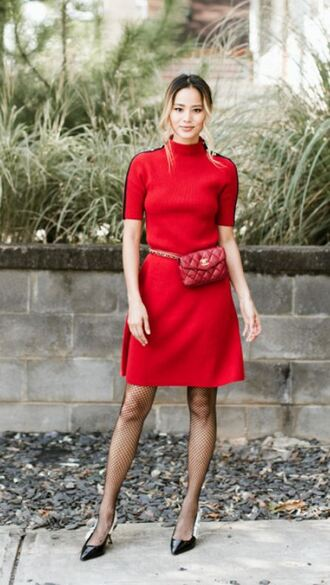 tights midi dress red dress red belt bag jamie chung blogger fall outfits