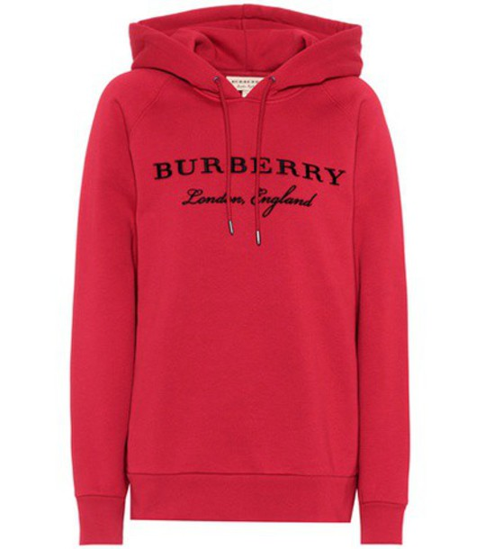 hoodie embroidered cotton red sweater
