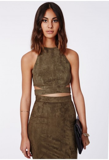 Magdelan faux suede cut out top khaki