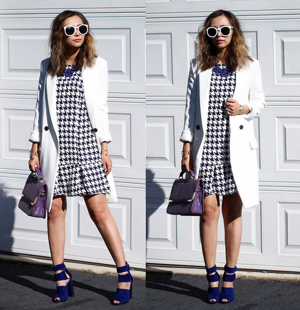 dress plaid checkered houndstooth houndstooth dress plaid shirt checkered skirt hem coat white jacket top trench coat blazer cardigan sunglasses shoes heels high heels sandals bag clutch handbag outfit clothes beautiful fashion streetwear streetstyle ootd blackfive