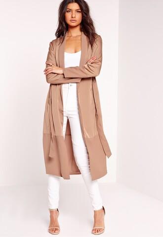 jacket trench coat satin jacket long coat summer coat long trench summer pink coat missguided