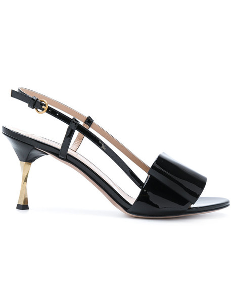 Valentino bow women sandals leather black shoes
