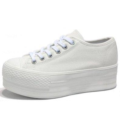 white platform canvas shoes