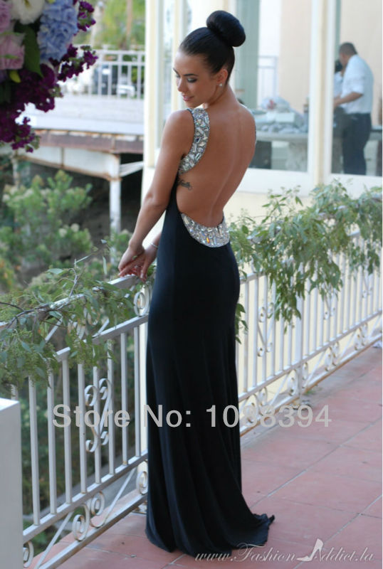 Hot Sexy 2014 Black Crystal Prom Dresses Custom Made Chiffon Long Sexy Backless Evening Dress Party Dresses-in Evening Dresses from Apparel & Accessories on Aliexpress.com