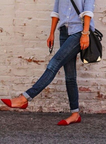 jeans red shoes red shoes ballet flats flats satchel leather needtohave what brand cute outfits casual