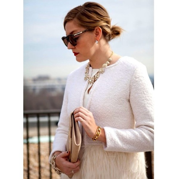 coat jacket faux fur feather coat white coat ootd fashion blogger fblogger