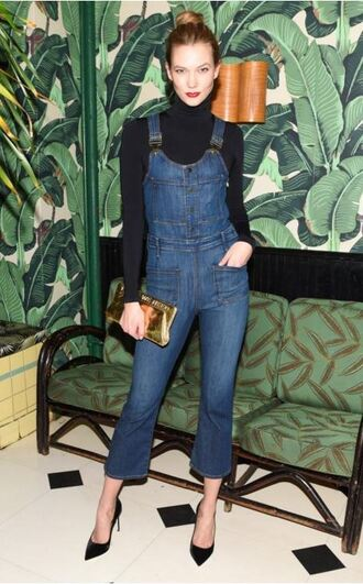 top turtleneck karlie kloss pumps jeans denim overalls bodysuit jumpsuit