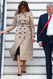 coat,melania trump,heels,high heels,pumps,trench coat,summer,summer outfits