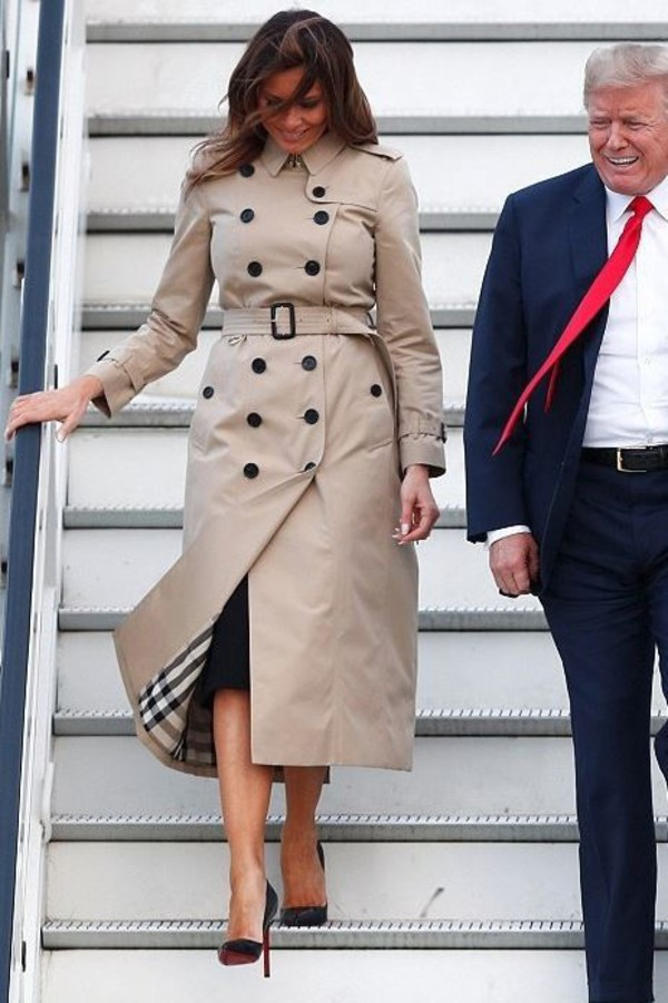 coat melania trump heels high heels pumps trench coat summer summer outfits