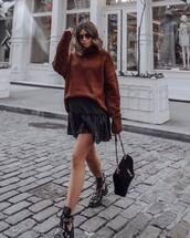 shoes,boots,black boots,flat boots,shoulder bag,mini bag,black skirt,wrap ruffle skirt,turtleneck sweater,knitwear