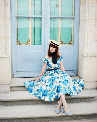 dress french girl hat blue dress floral floral dress midi dress sandals sandal heels heels sun hat spring outfits spring dress