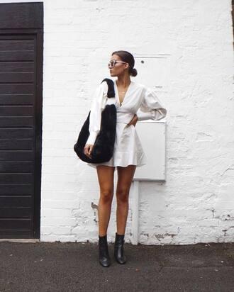 dress tumblr mini dress white dress long sleeves long sleeve dress v neck v neck dress boots ankle boots bag black bag furry bag sunglasses shoes