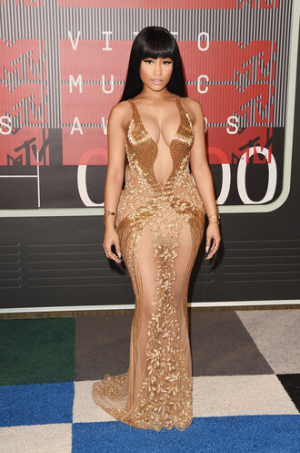 dress gold maxi dress gown nicki minaj sheer see through dress vma plunge dress plunge v neck nicki minaj style nicki minaj collection sexy dress sexy nude dress nude bodycon dress bodycon prom dress onika
