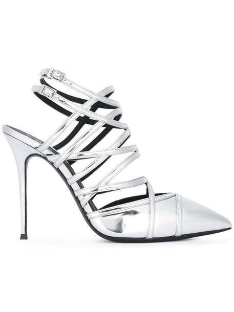 GIUSEPPE ZANOTTI DESIGN women caged sandals leather grey metallic shoes